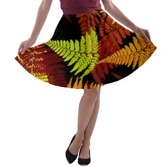 3d Red Abstract Fern Leaf Pattern A Line Skater Skirt
