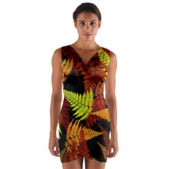 3d Red Abstract Fern Leaf Pattern Wrap Front Bodycon Dress