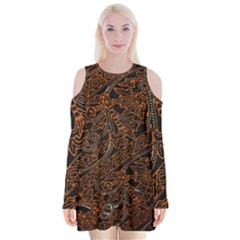 Art Traditional Indonesian Batik Pattern Velvet Long Sleeve Shoulder Cutout Dress by Amaryn4rt