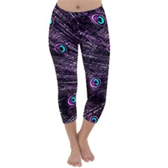 Bird Color Purple Passion Peacock Beautiful Capri Winter Leggings  by Amaryn4rt