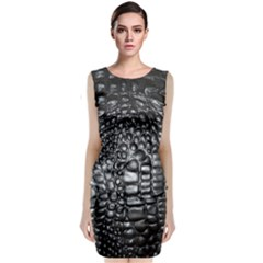 Black Alligator Leather Classic Sleeveless Midi Dress by Amaryn4rt