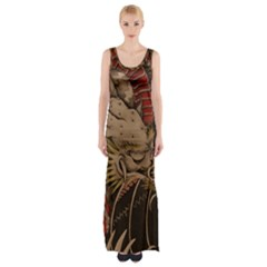 Chinese Dragon Maxi Thigh Split Dress by Amaryn4rt