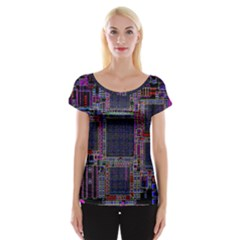 Technology Circuit Board Layout Pattern Women s Cap Sleeve Top
