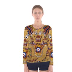 Chinese Dragon Pattern Women s Long Sleeve Tee by Amaryn4rt