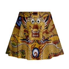 Chinese Dragon Pattern Mini Flare Skirt by Amaryn4rt