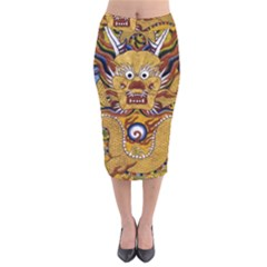 Chinese Dragon Pattern Velvet Midi Pencil Skirt by Amaryn4rt