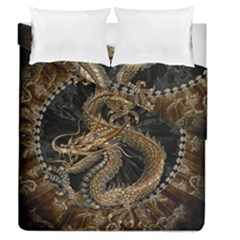 Dragon Pentagram Duvet Cover Double Side (queen Size) by Amaryn4rt