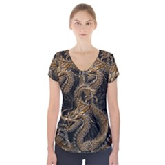 Dragon Pentagram Short Sleeve Front Detail Top by Amaryn4rt