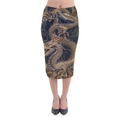 Dragon Pentagram Velvet Midi Pencil Skirt by Amaryn4rt