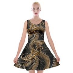 Dragon Pentagram Velvet Skater Dress by Amaryn4rt