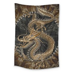 Dragon Pentagram Large Tapestry by Amaryn4rt