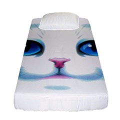 Cute White Cat Blue Eyes Face Fitted Sheet (single Size) by Amaryn4rt