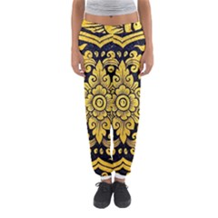 Flower Pattern In Traditional Thai Style Art Painting On Window Of The Temple Women s Jogger Sweatpants by Amaryn4rt