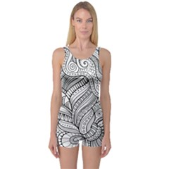 Zentangle Art Patterns One Piece Boyleg Swimsuit by Amaryn4rt