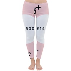 Added Less Equal With Pink White Classic Winter Leggings