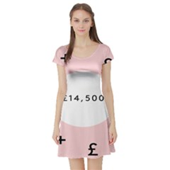 Added Less Equal With Pink White Short Sleeve Skater Dress