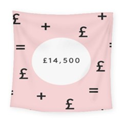 Added Less Equal With Pink White Square Tapestry (large)