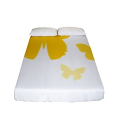 Yellow Butterfly Animals Fly Fitted Sheet (full/ Double Size)