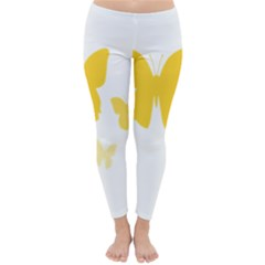 Yellow Butterfly Animals Fly Classic Winter Leggings