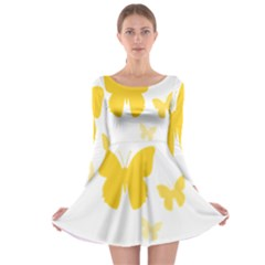 Yellow Butterfly Animals Fly Long Sleeve Skater Dress