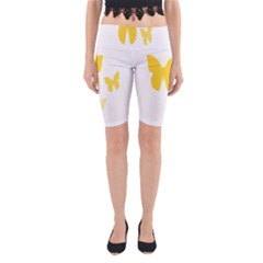 Yellow Butterfly Animals Fly Yoga Cropped Leggings