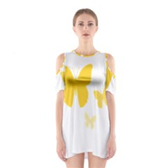 Yellow Butterfly Animals Fly Shoulder Cutout One Piece
