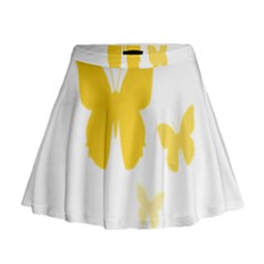 Yellow Butterfly Animals Fly Mini Flare Skirt