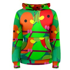 Animals Birds Red Orange Green Leaf Tree Women s Pullover Hoodie