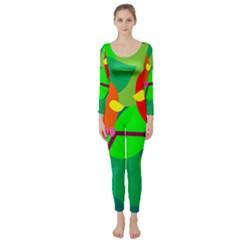 Animals Birds Red Orange Green Leaf Tree Long Sleeve Catsuit