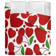 Cherry Fruit Red Love Heart Valentine Green Duvet Cover Double Side (california King Size)