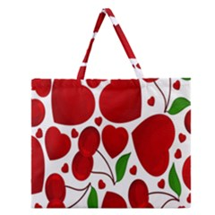 Cherry Fruit Red Love Heart Valentine Green Zipper Large Tote Bag by Alisyart