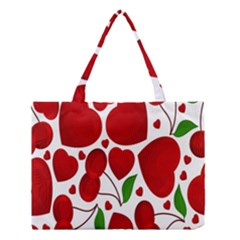 Cherry Fruit Red Love Heart Valentine Green Medium Tote Bag by Alisyart