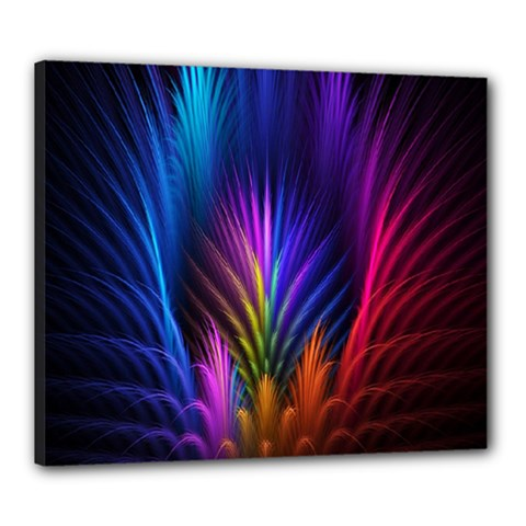 Bird Feathers Rainbow Color Pink Purple Blue Orange Gold Canvas 24  X 20