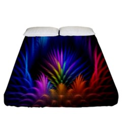 Bird Feathers Rainbow Color Pink Purple Blue Orange Gold Fitted Sheet (california King Size) by Alisyart