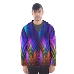 Bird Feathers Rainbow Color Pink Purple Blue Orange Gold Hooded Wind Breaker (men) by Alisyart