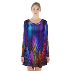 Bird Feathers Rainbow Color Pink Purple Blue Orange Gold Long Sleeve Velvet V-neck Dress