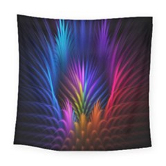Bird Feathers Rainbow Color Pink Purple Blue Orange Gold Square Tapestry (large)