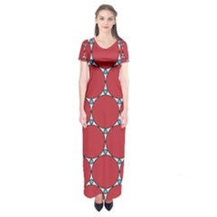 Circle Red Purple Short Sleeve Maxi Dress