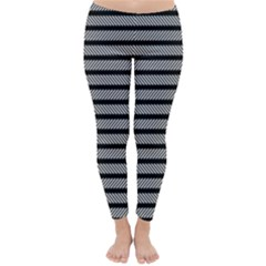 Black White Line Fabric Classic Winter Leggings