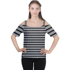 Black White Line Fabric Women s Cutout Shoulder Tee by Alisyart
