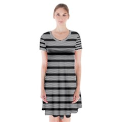 Black White Line Fabric Short Sleeve V Neck Flare Dress