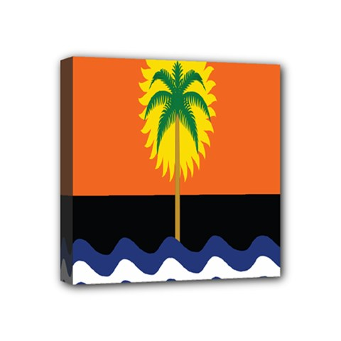 Coconut Tree Wave Water Sun Sea Orange Blue White Yellow Green Mini Canvas 4  X 4