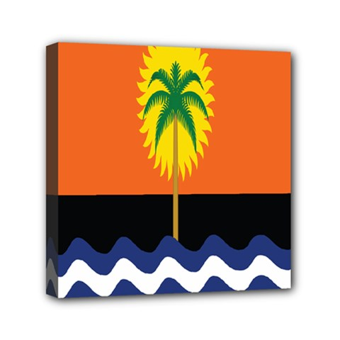 Coconut Tree Wave Water Sun Sea Orange Blue White Yellow Green Mini Canvas 6  X 6