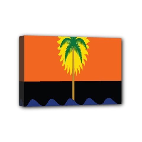 Coconut Tree Wave Water Sun Sea Orange Blue White Yellow Green Mini Canvas 6  X 4