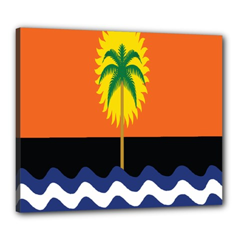 Coconut Tree Wave Water Sun Sea Orange Blue White Yellow Green Canvas 24  X 20  by Alisyart