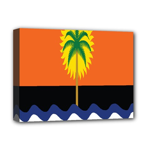 Coconut Tree Wave Water Sun Sea Orange Blue White Yellow Green Deluxe Canvas 16  X 12   by Alisyart