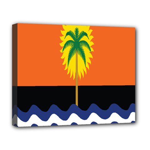 Coconut Tree Wave Water Sun Sea Orange Blue White Yellow Green Deluxe Canvas 20  X 16   by Alisyart