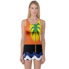 Coconut Tree Wave Water Sun Sea Orange Blue White Yellow Green One Piece Boyleg Swimsuit