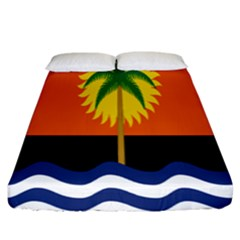 Coconut Tree Wave Water Sun Sea Orange Blue White Yellow Green Fitted Sheet (king Size) by Alisyart