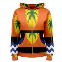 Coconut Tree Wave Water Sun Sea Orange Blue White Yellow Green Women s Pullover Hoodie